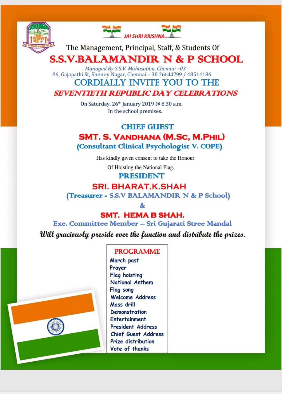 Republic day Celebration-S.S.V Balamandir School-26th Jan 2019